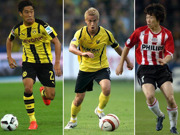Vlnr: Shinji Kagawa, Keisuke Honda en Ji-Sung Park.