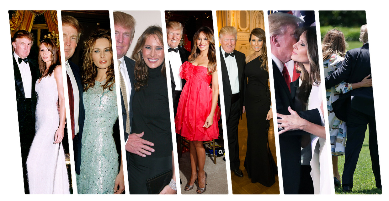 Melania en Donald Trump door de jaren heen. Van links naar rechts: Florida, 1999; Nieuwjaarsdag 2000; Zwanger van Barron, 2005; Palm Beach, 2011; Palm Beach, 2015; winnaar verkiezingen 2016; Witte Huis, 2019. Beeld FimMagic, Getty