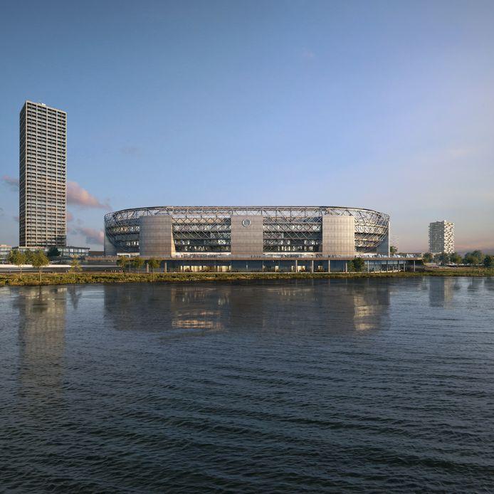 Het nieuwe stadion, gezien vanaf de oever van de Nieuwe Maas in Kralingen. Een blikvanger vanjewelste, maar komt-ie er ook?
