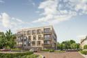 Een te bouwen appartementencomplex in Hof van Liz.