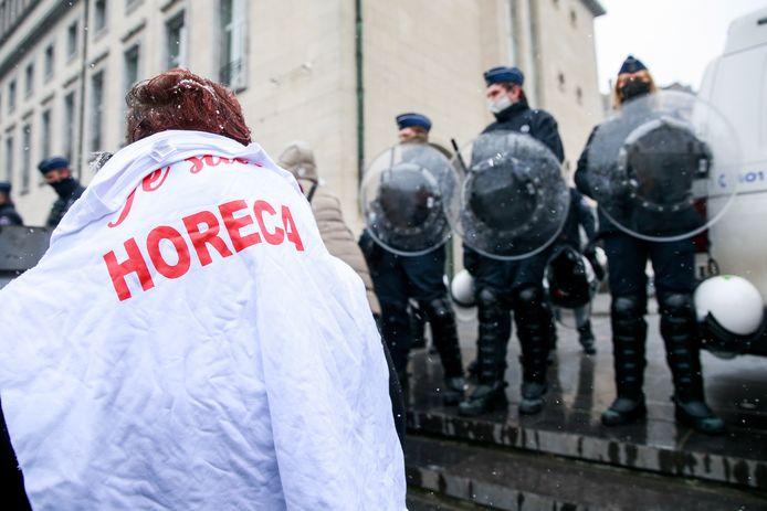 Manifestation pour la réouverture, entre autres, de l'Horeca, Bruxelles, le 16 janvier 2021.