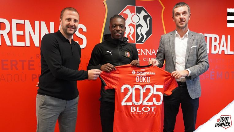 Anderlecht-winger Jérémy Doku verkast naar Rennes. Beeld Stade Rennais