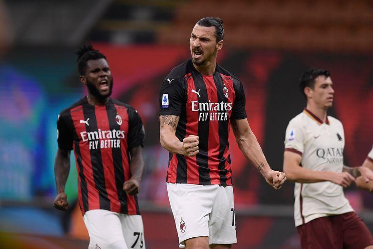Zlatan Ibrahimovic heeft zijn zoveelste doelpunt gemaakt voor AC Milan. Beeld AP