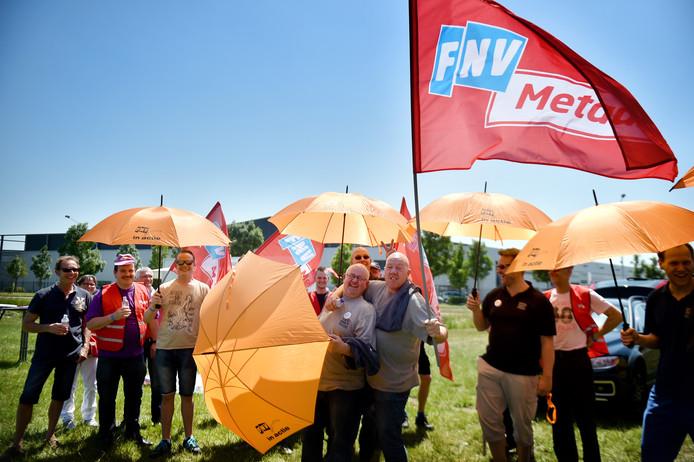 Metaalwerkers uit Nijmegen en regio bij een eerdere actie voor een betere cao.
