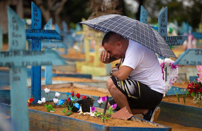 Een man huilend bij een graf in Manaus, Brazlië. Begraafplaatsen gingen afgelopen weekend weer open voor bezoekers voor het eerst tijdens de coronapandemie.