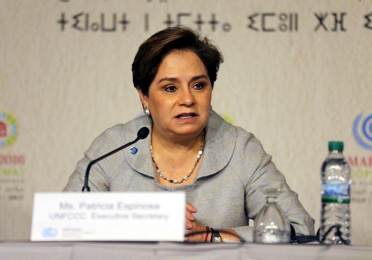 De nieuwe VN-klimaatchef Patricia Espinosa spreekt op een persconferentie een dag voor de start van de top in Marrakech. Beeld null