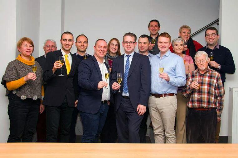 Nieuwjaarsreceptie N-VA Oud-Heverlee met Sven Deferme als vijfde van links