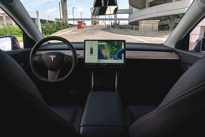 Het dashboard van de nieuwe Tesla Model Y.