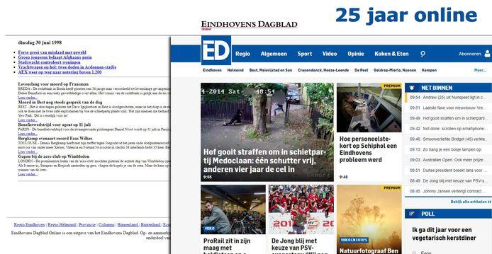 Een van de eerste screenshots van de oude website en de recente.