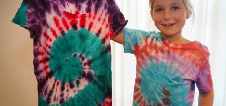 Liz (7) verft T-shirts voor goed doel: 'Ik wil mensen in het Sophia Kinderziekenhuis vrolijk maken'