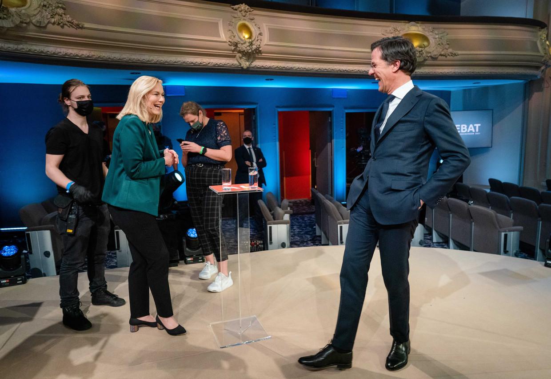 Sigrid Kaag tegenover Mark Rutte in het verkiezingsdebat van EenVandaag.