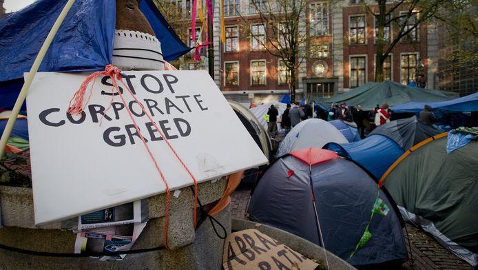 Actievoerders op het Beursplein in Amsterdam