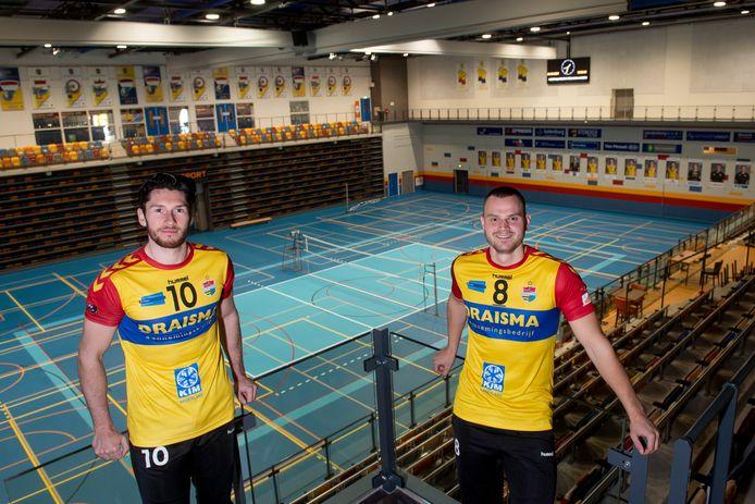 Maikel van Zeist (links) en Freek de Weijer van Draisma Dynamo kijken uit naar de kampioenspoule.