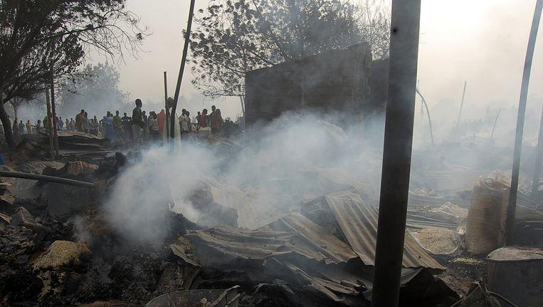 Een bomaanslag in de Nigeriaanse stad Maiduguri vorig jaar. Beeld REUTERS
