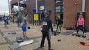 Leden van sportschool Tiga werkten zich in het zweet bij het station in Boxtel.