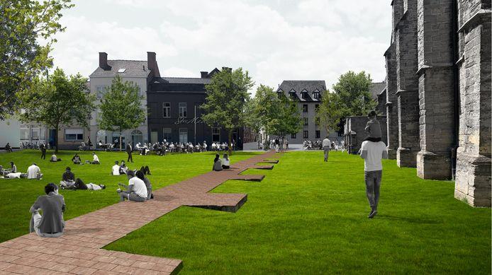 Zo zien de stad en de Franse landschapsarchitect Michel Desvigne het. De oude burchtmuur wordt verlaagd, de bovenzijde wordt in rode baksteen heraangelegd. De gracht verdwijnt. Waardoor je er een mooie en aaneengesloten groenzone krijgt