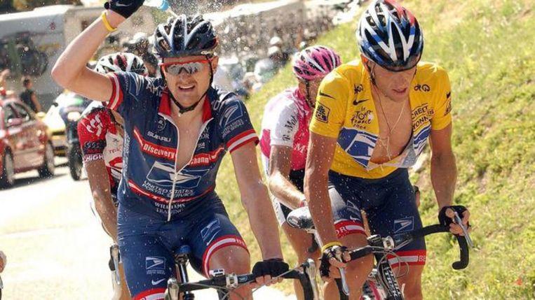 Floyd Landis (L) en Lance Armstrong (R). Beeld RV