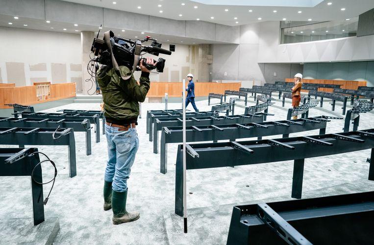De nieuwe plenaire zaal in het voormalige ministerie van Buitenlandse Zaken waar tijdelijk de Tweede Kamer wordt ingericht. Beeld Hollandse Hoogte / ANP