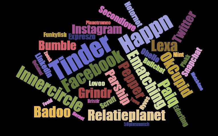 De meest genoemde apps en websites waar respondenten een date ontmoet hebben. Beeld Jitse Schuurmans