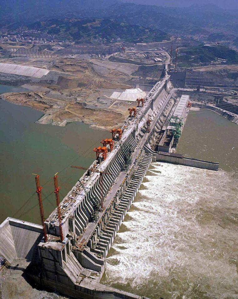 De Drieklovendam tijdens de bouw in 2003. Beeld EPA