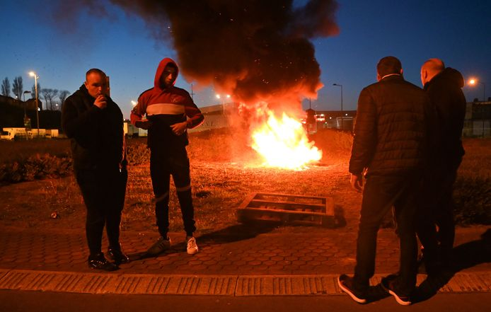 Blokkades in Boulogne-sur-Mer gisteravond.