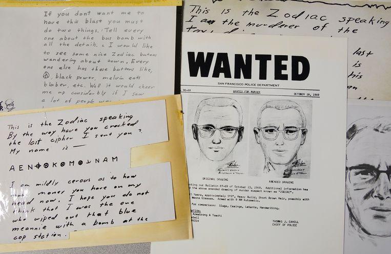De 'Zodiac Killer' stuurde brieven naar de krant de 'San Francisco Chronicle'. De code werd gekraakt door een team specialisten, onder wie een Belg. Beeld AP