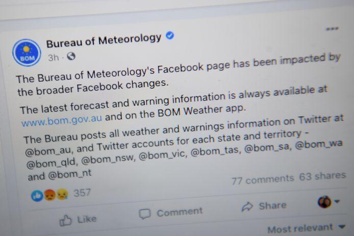 Ook de Facebookpagina van de Australische weerdienst werd geblokkeerd.