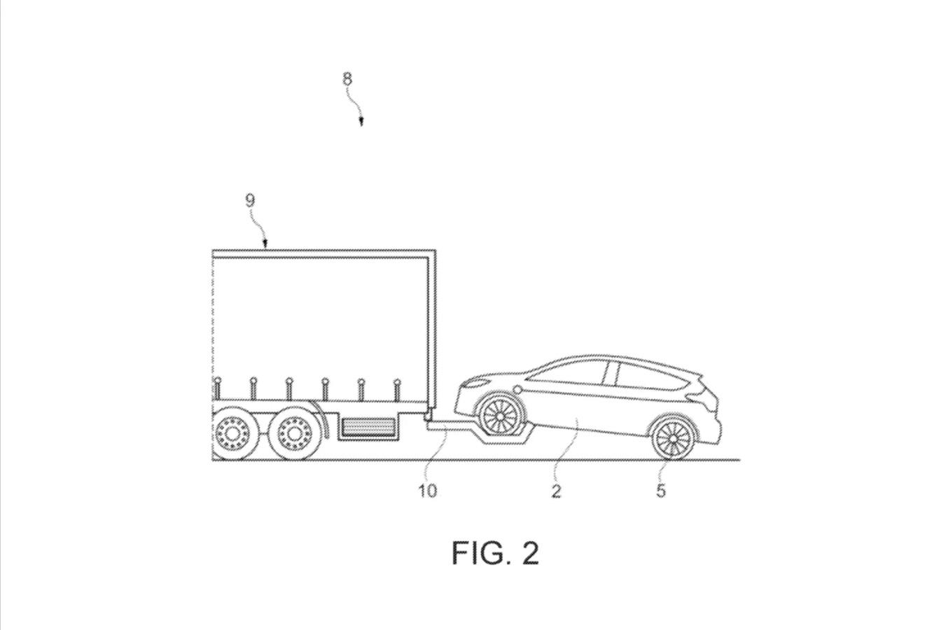 De getrokken auto kan ook met de voorste wielen in de lucht, meent Ford.