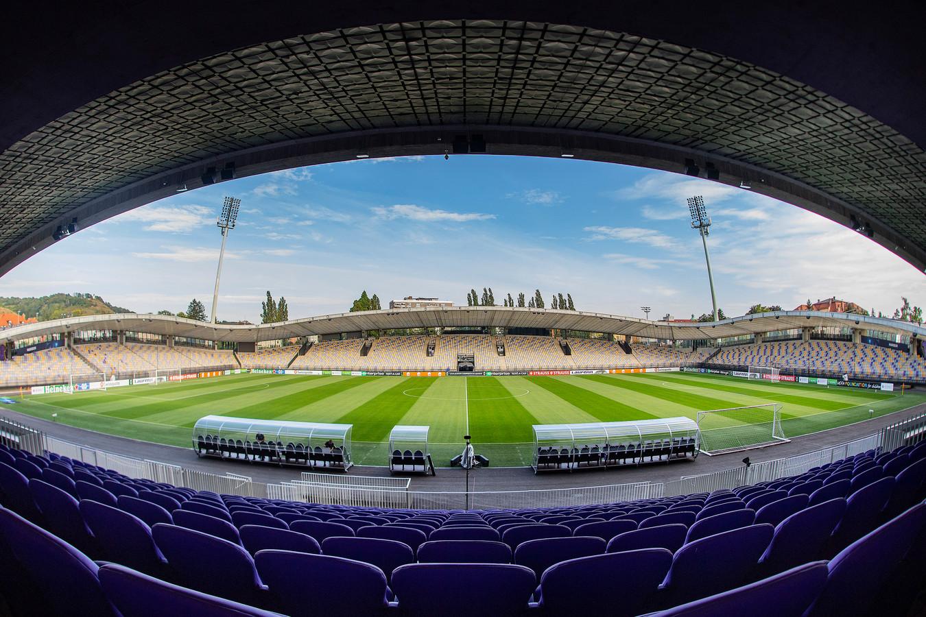 Stadion Ljudski Vrt in Maribor, decor voor de eerste groepswedstrijd van Vitesse in de Conference League.