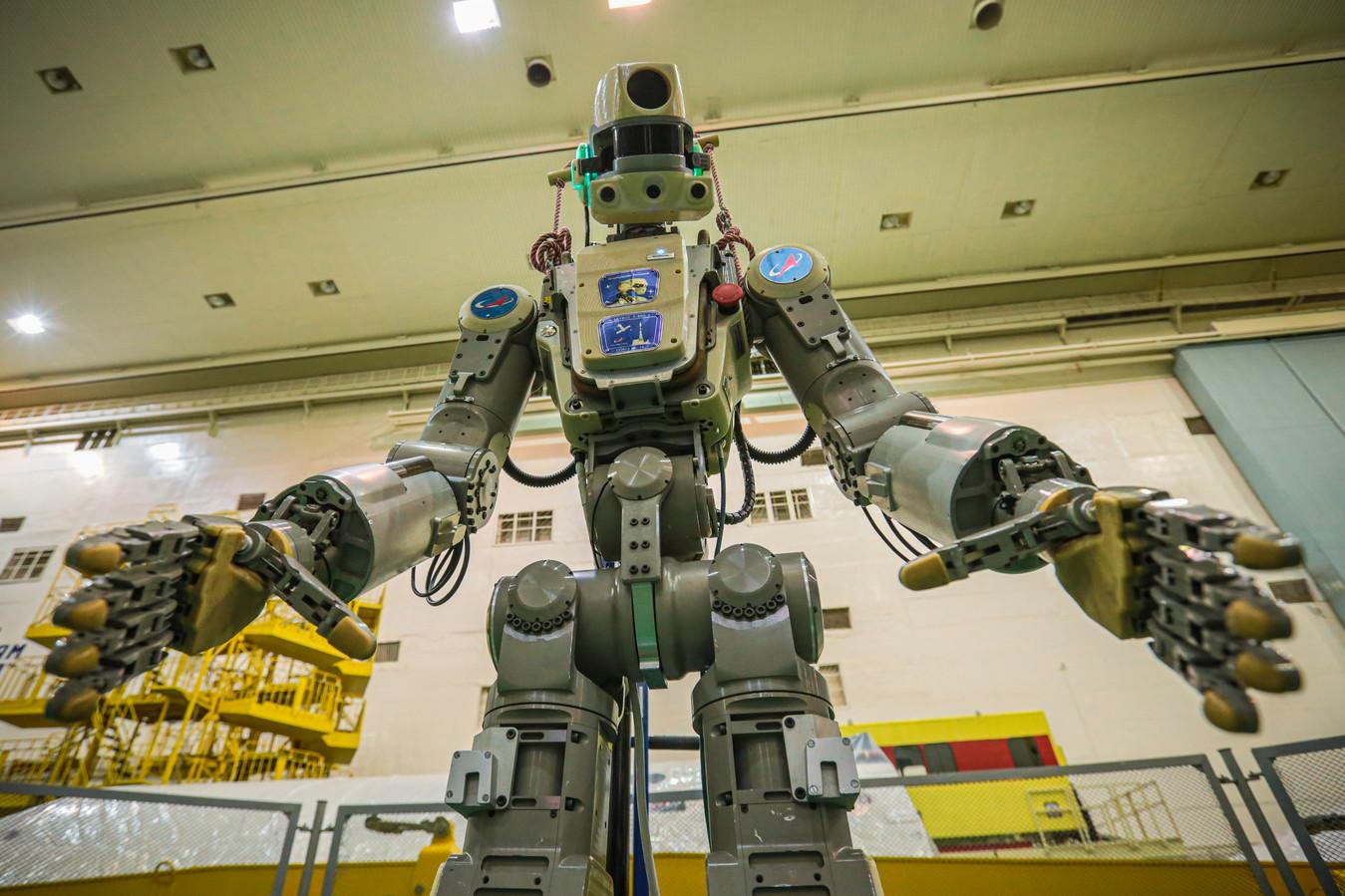 Robot Fedor vlak voor vertrek.