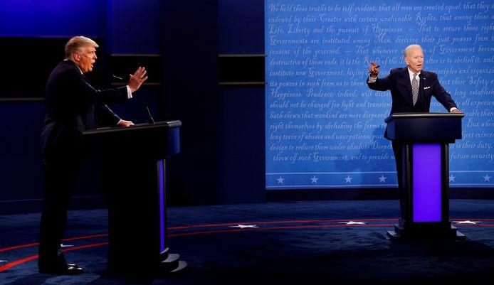 President Donald Trump en zijn Democratische uitdager Joe Biden tijdens hun eerste verkiezingsdebat.