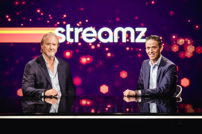 CEO's John Porter (Telenet) en Kris Vervaet (DPG Media) schuwden de superlatieven niet bij de officiële voorstelling van het streamingplatform: 'De grootste revolutie sinds digitale televisie', klonk het. Beeld BELGA