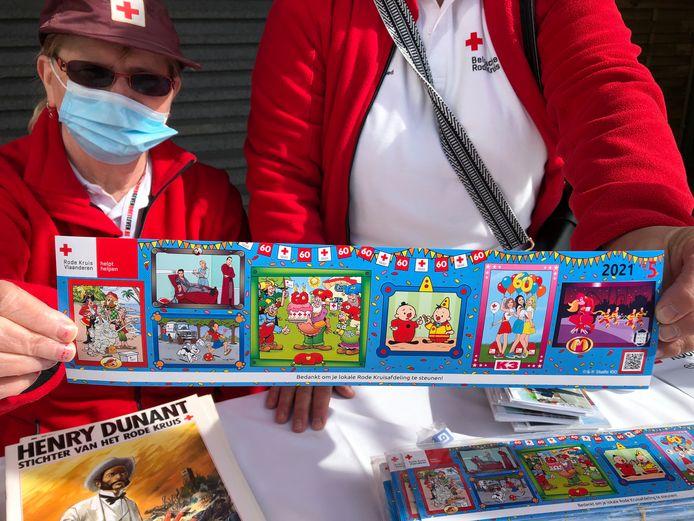 De Rode Kruis-sticker bestaat 60 jaar en werd versierd met Studio 100-figuren.