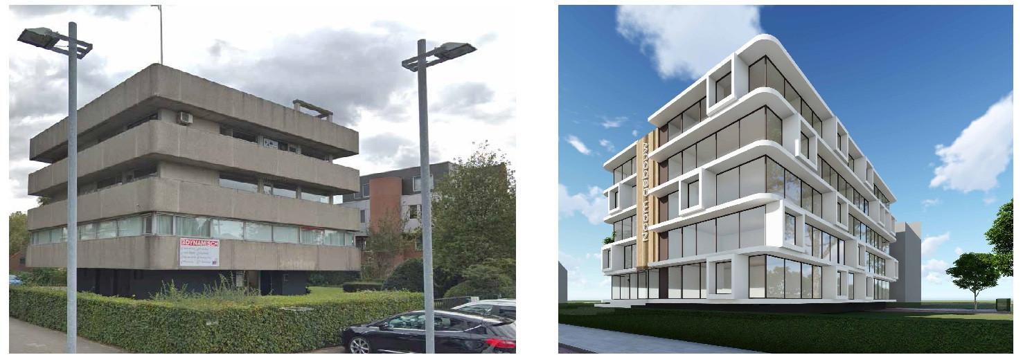 Het kantoorpand op de hoek van het Oostelijk Bolwerk in Terneuzen maakt plaats voor een appartementencomplex.