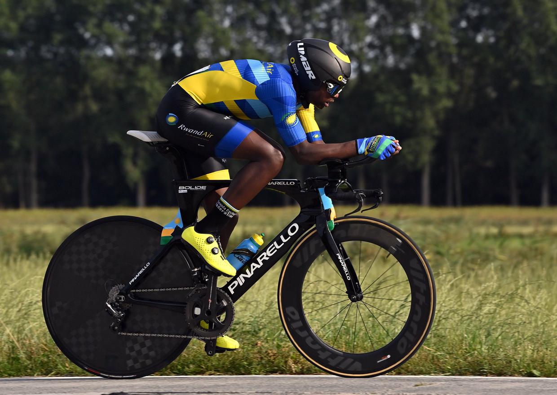 De Rwandees Etienne Tuyizere op de WK Wielrennen in Vlaanderen, vorig weekend, tijd de tijdrit voor junioren.  Beeld BELGA