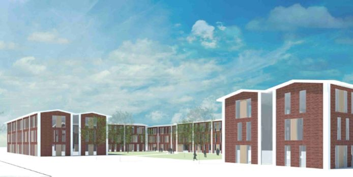 Een impressie van de huisvesting voor arbeidsmigranten zoals die zou moeten komen op het voormalige Glatt-terrein bij Putte. Er zijn drie losse woonblokken voorzien, met in totaal 466 bedden.
