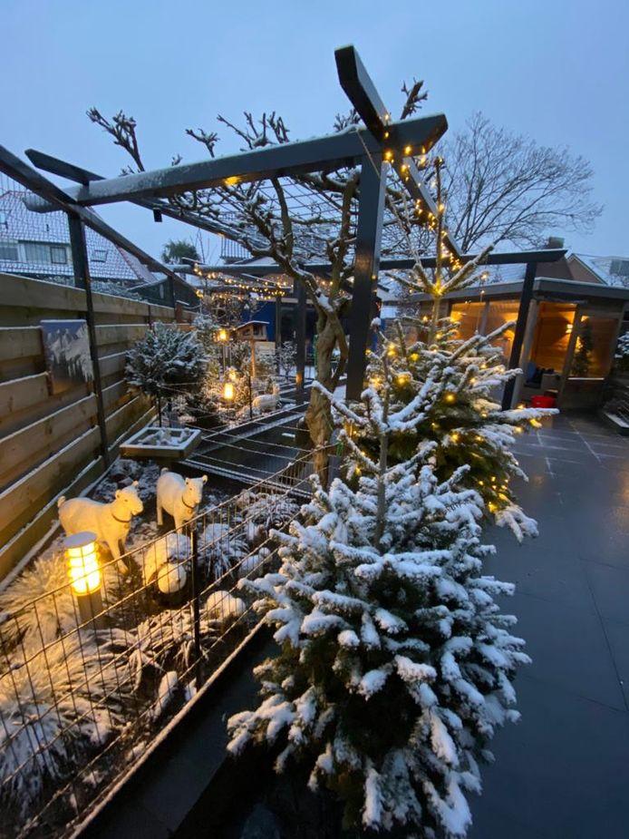 Het dunne laagje sneeuw in de tuin van Leonie van Rooijen zorgt voor een winters uitzicht.