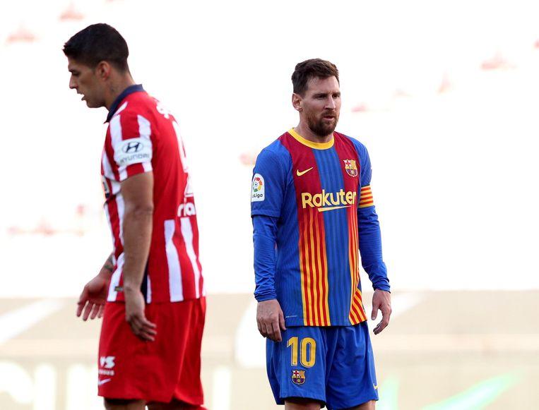 De confrontatie tussen de boezemvrienden Luis Suárez en Lionel Messi eindigde in een vooral voor FC Barcelona onbevredigende 0-0.  Beeld Reuters