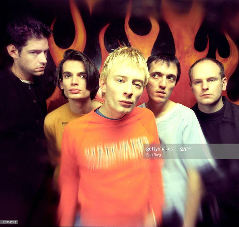 Radiohead in 1993, met vlnr. Ed O'Brien, Jonny Greenwood, Thom Yorke, Colin Greenwood en Phil Selway. Beeld Getty Images
