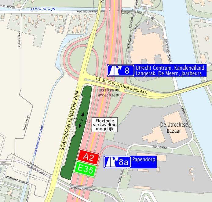 De kavel Hooggelegen tussen de A2 en Stadsbaan Leidsche Rijn.