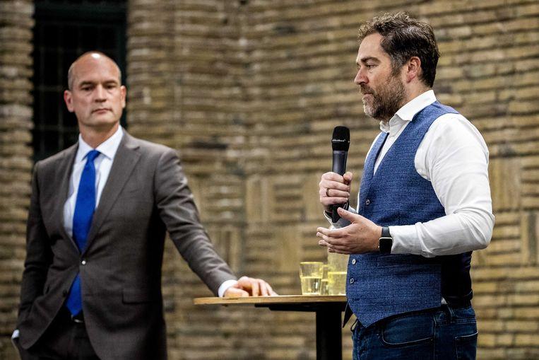 Gert-Jan Segers (CU) en Klaas Dijkhoff (VVD) in debat over onderwijsvrijheid. Beeld ANP