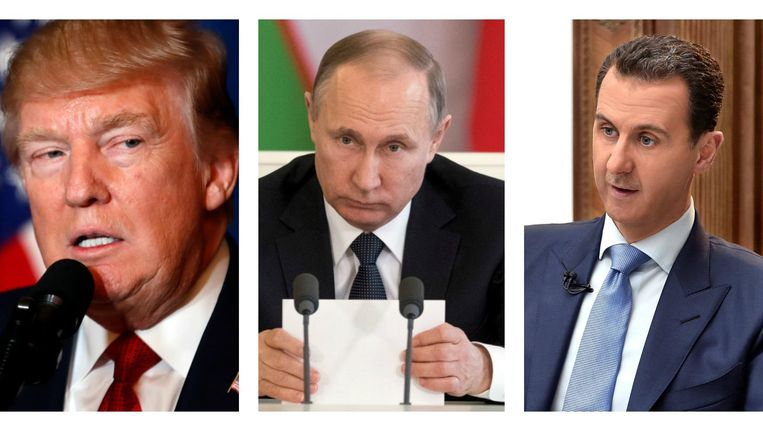 Hoofdrolspelers Trump, Poetin en Assad. Beeld AP, Reuters