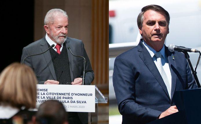 Oud Braziliaanse president Luiz Inacio Lula da Silva (links) en huidig president Jair Bolsonaro.