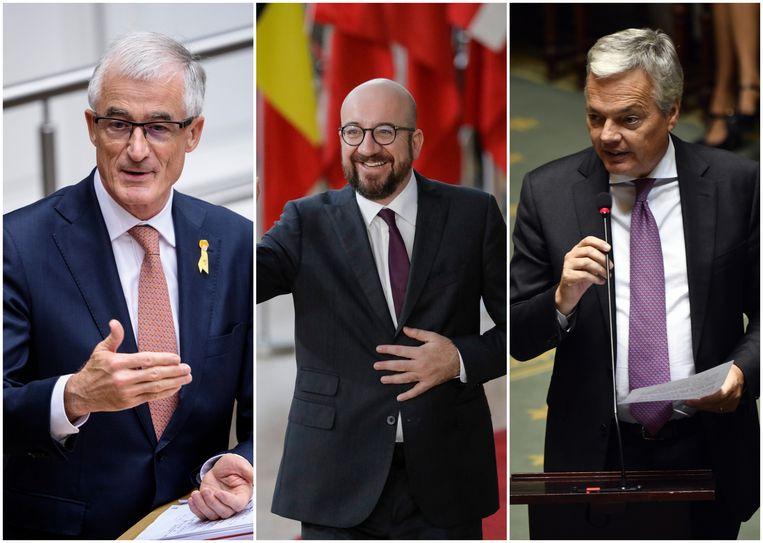 Vlnr. Vlaams minister-president Geert Bourgeois (N-VA), federaal premier Charles Michel (MR) en minister van Buitenlandse Zaken Didier Reynders (MR).
