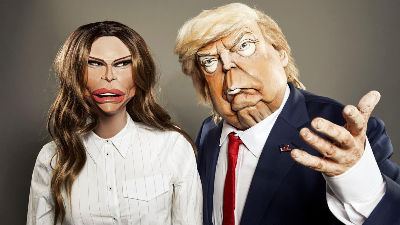 De handpoppen van Melania en Donald Trump. Beeld SBS