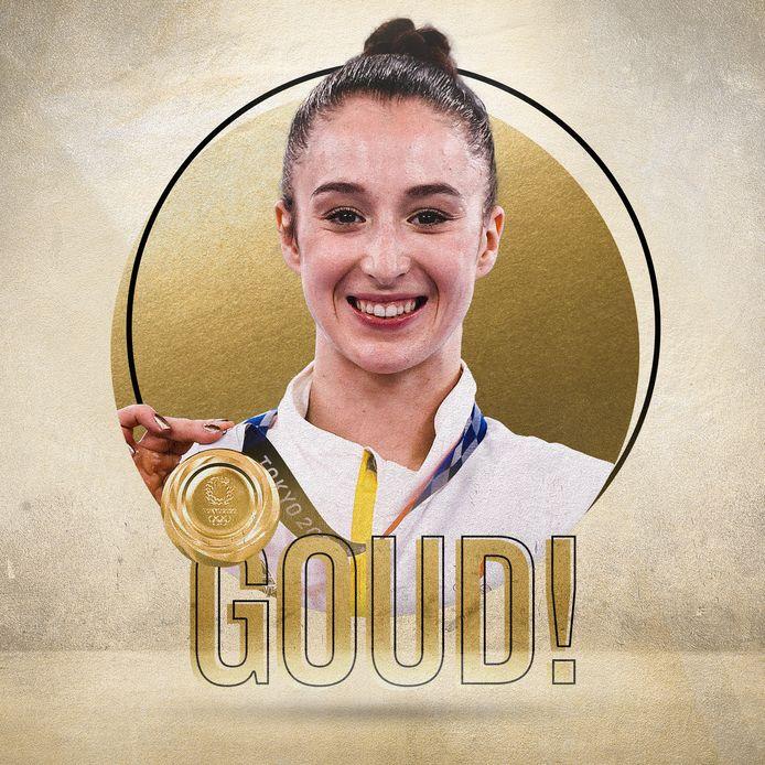 Nina Derwael wint goud op de Spelen van Tokio.