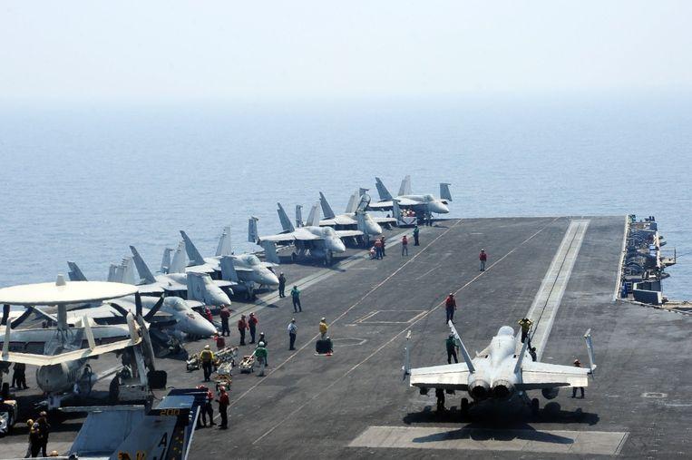Het Amerikaanse vliegdekschip USS George H.W. Bush. Beeld afp
