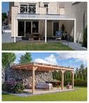 Boven: terrasoverkapping Makroshop.be met aluminium constructie, onder: WoodAcademy Bedford Douglas Veranda 800 x 400 cm via Azalp.be.