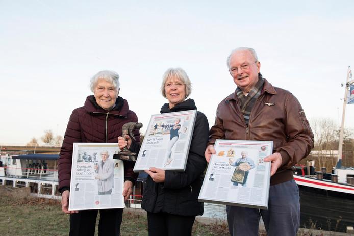 Betty van Roij, Dini van den Eertwegh en Age Visser; de nummers twee, een en drie in de finale van Oude Meesters 2016.