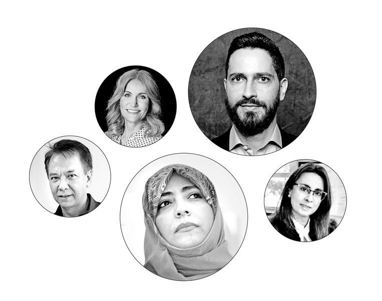 Vijf leden van de Oversight Board, van links af: Endy Bayuni, Helle Thorning-Schmidt, Tawakkol Karman, Ronaldo Lemos en Catalina Botero-Marino. Beeld